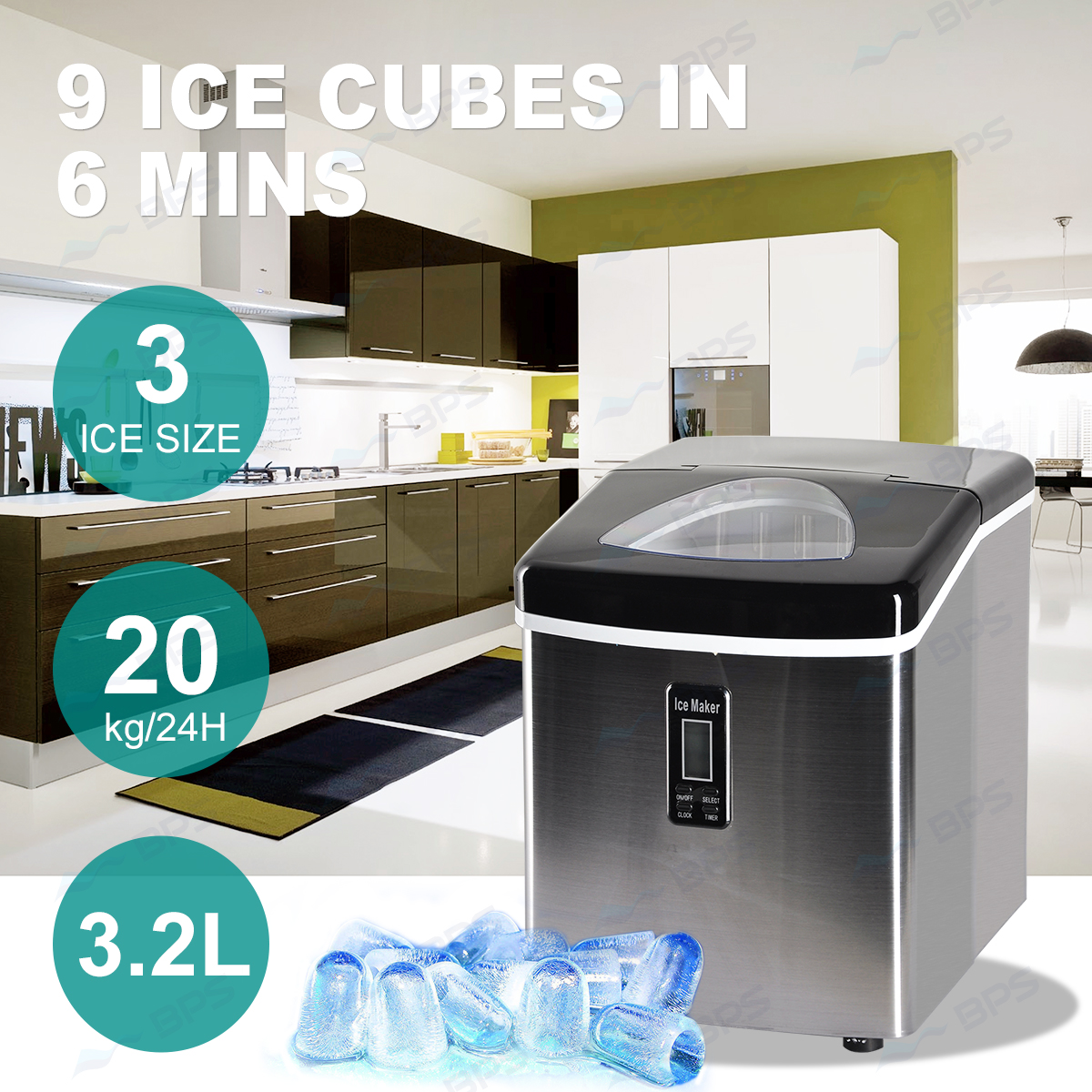 2L Home Portable Cube Ice Maker Machine w/ LCD Control Panel Easy ...