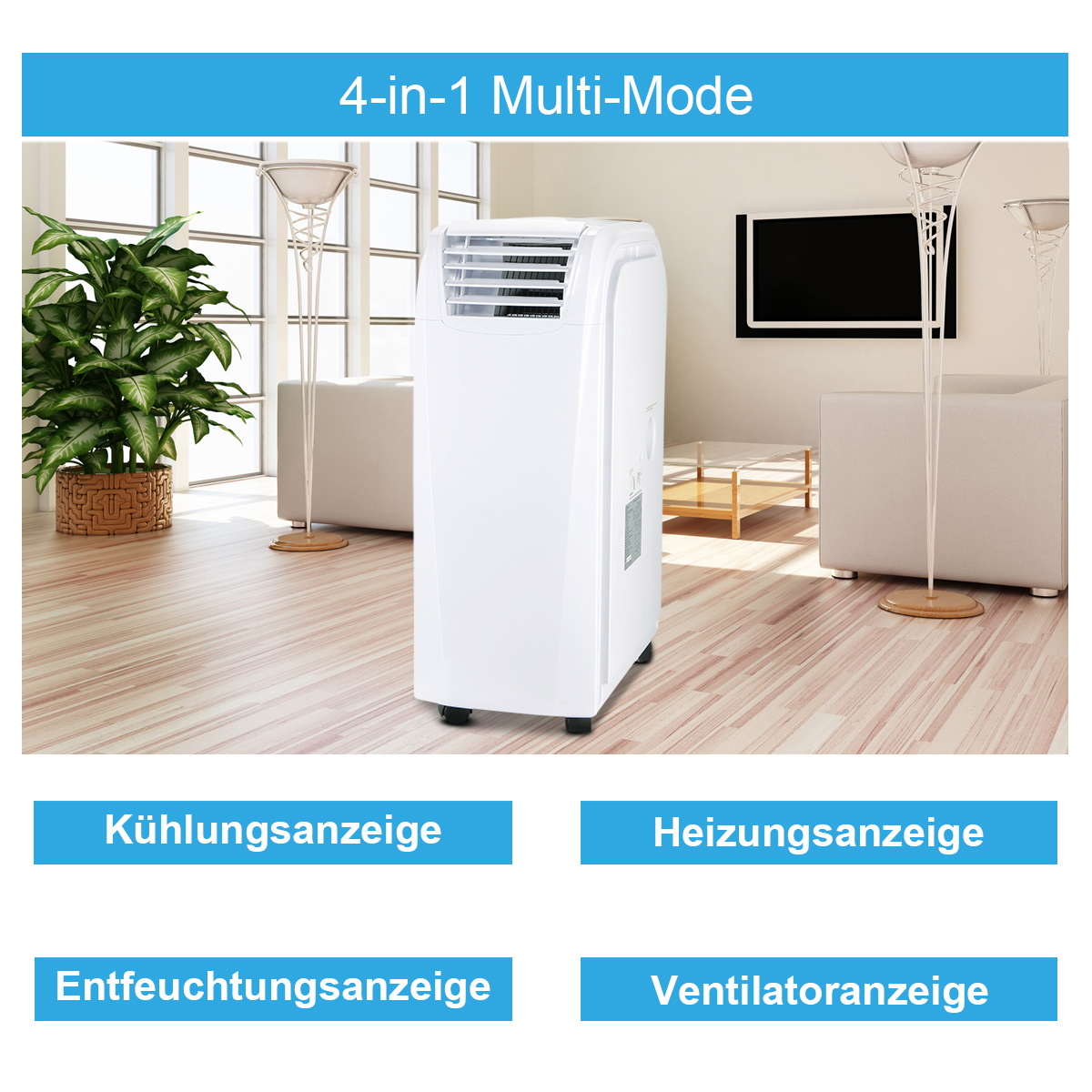 3 5 kw btu mobile klimaanlage 4 in 1 klimager t heizger te ventilator ebay. Black Bedroom Furniture Sets. Home Design Ideas