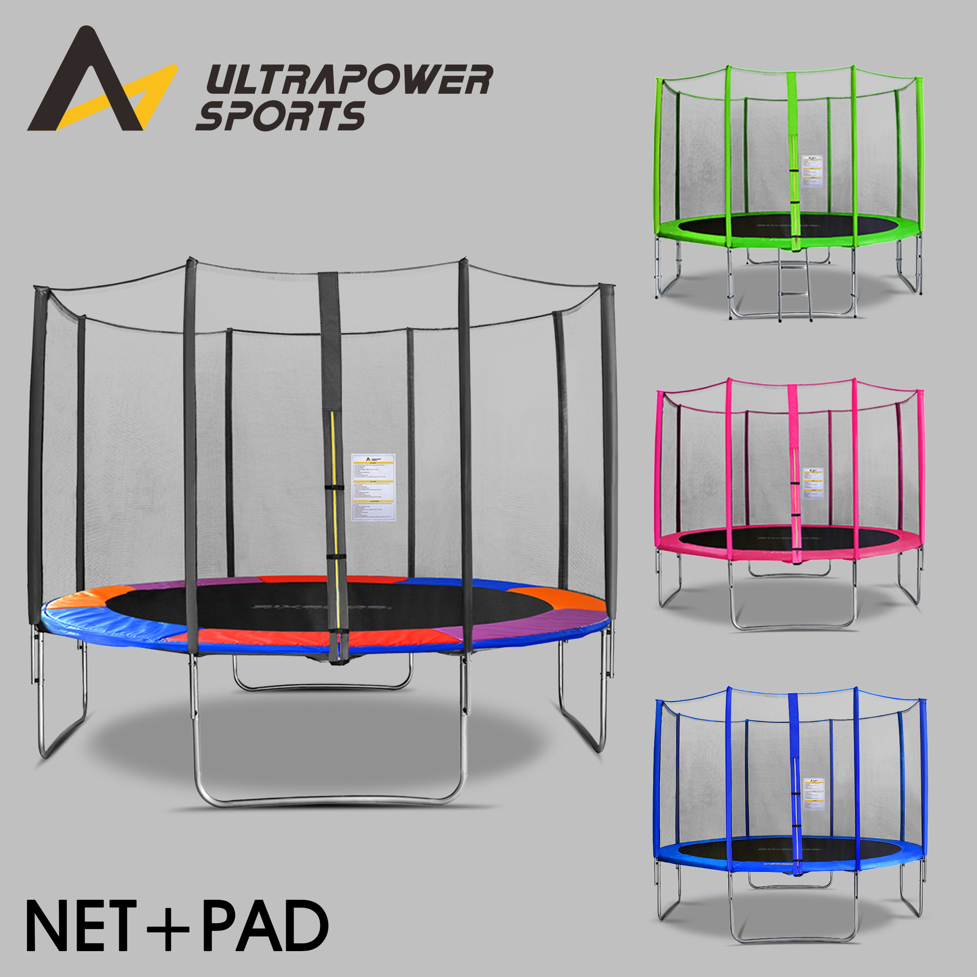 8ft Trampoline Safety Net Enclosure Ladder Rain Cover Shoe: ULTRAPOWER 8-14 FT Replacement Trampoline Safety Net