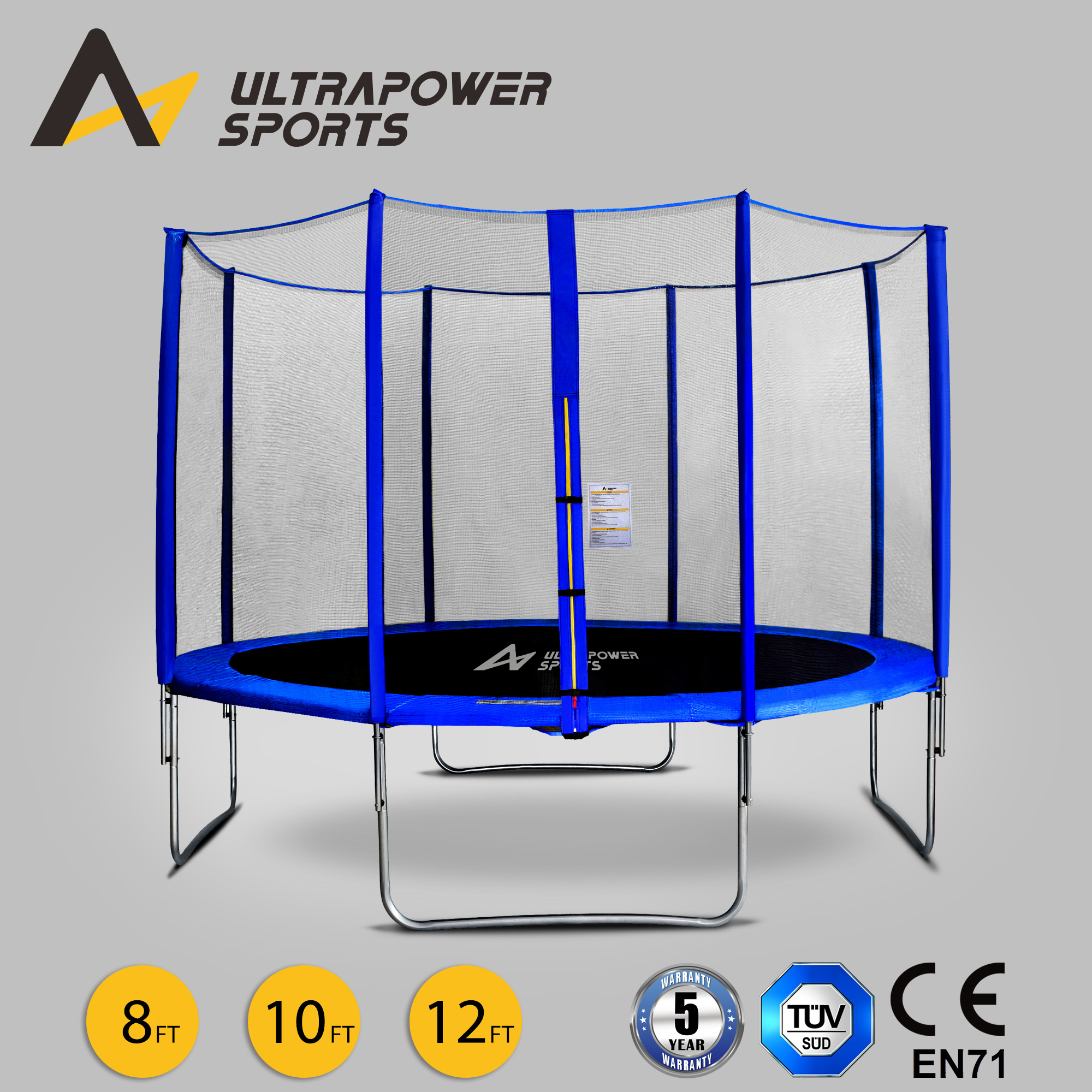 New Heavy Duty Trampoline 14 Ft With Ladder Safety Net: 8 10 12FT Trampoline With Enclosure Safety Net Pad Ladder